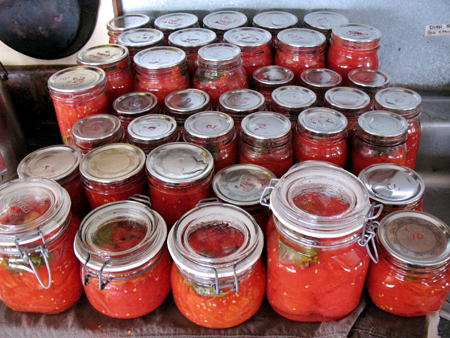 One days canning.  There are over 50 pints here.  That represents many batches in a stove top canner.