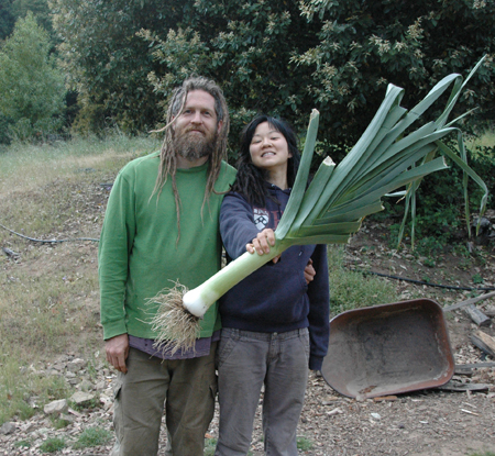 Ok, we're totally using the hold-it-out-in-front-of-you-to-make-your-fish-look-bigger trick, but that's still a pretty big damned leek! And the leeks were planted unusually late that season. Tonia, grower of corn, burner of lime and instigator of chickens, has left Turkeysong to pursue her passion for the sensible union of architecture, communities and building. She will be sorely missed. Wish her luck!