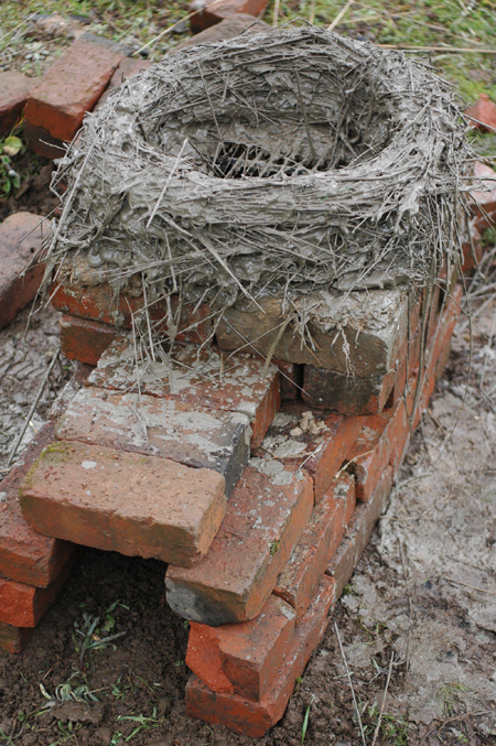 The Pet's base, slapped together with bricks and then covered in mud, was a quick way to try out the idea of utilizing a fire box and a grate.
