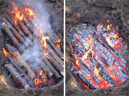 This is toward the end of the burn. I could have fit at least two more layers, but I was running out of wood. Note the close spacing and attempt to cover the top pretty well in order the shield the coals below from receiving too much air.