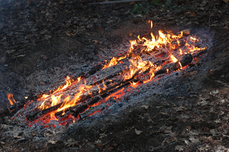 Burning charcoal in a trench. There is a trench, this is the end of the burn when it's full of charcoal.