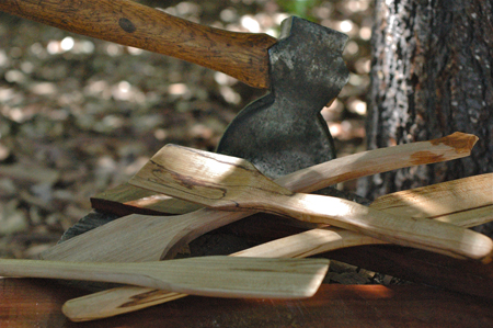 I carved some spoons and spatulas this year from maple and madrone. When I come across some nice wood, I blank out billets with my hatchet and store them for later use. The rough shape is made with the hatchet and finished with a knife, rasp and sandpaper. They sold pretty well, but I don't really do it for the money, because it doesn't pay that well when using hand tools. A bandsaw would speed it up, but where's the fun in that?