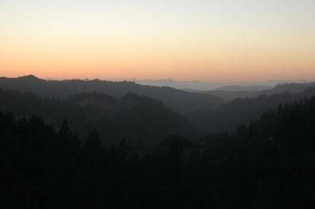 Dusk view toward the coast on the other side of the ridge about 300 feet out the back door.